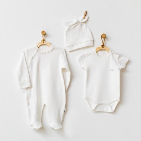 Baby set 3-piece romper NATURA WAWA ORGANIG GIRL collection (ANDY WAWA)